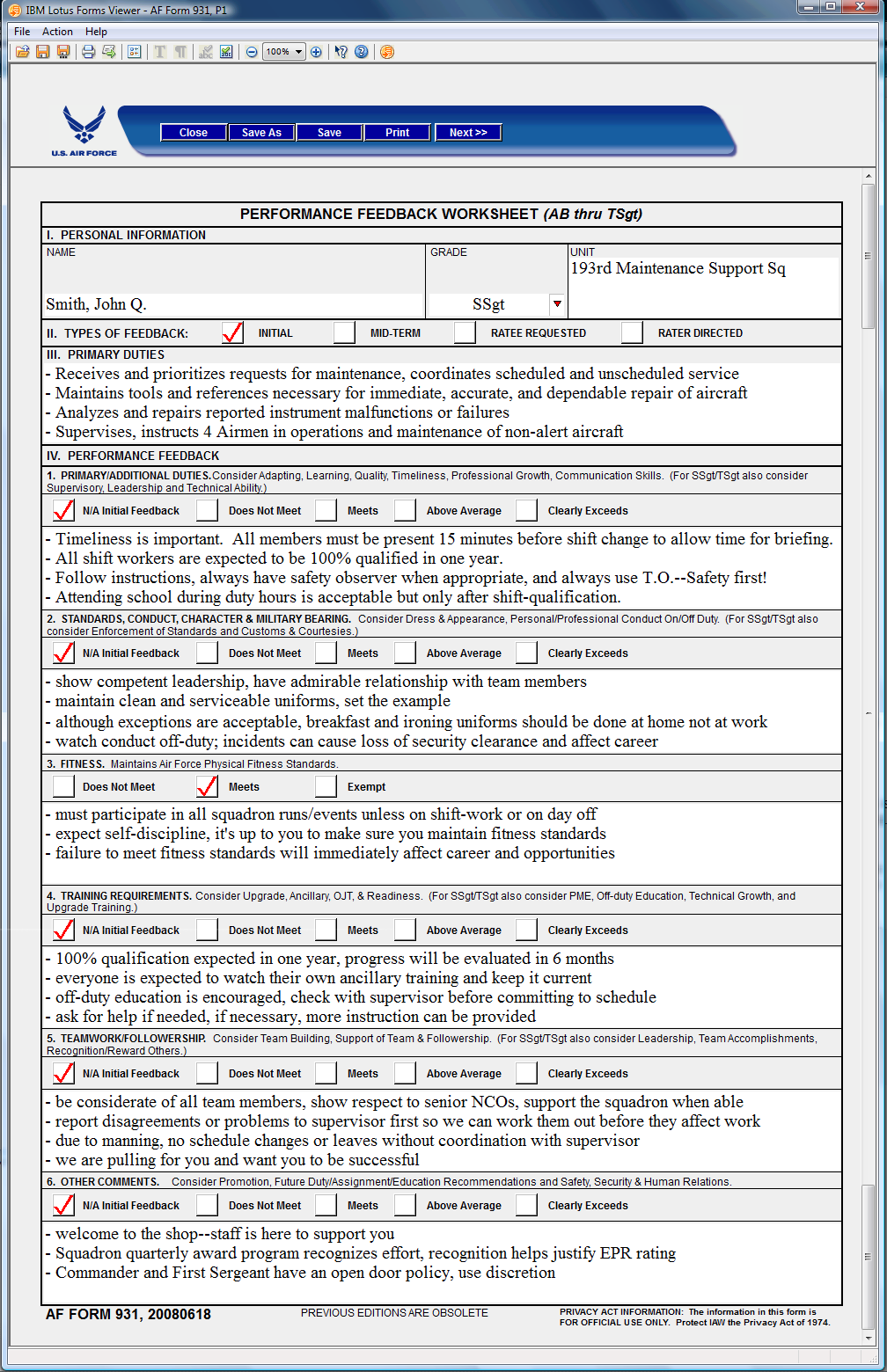 Printables Performance Feedback Worksheet af form 931 feedback example 1 performance worksheet