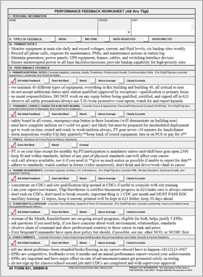 af form 931 AF Form 931 Performance Feedback Worksheet