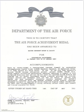 Air force writing assistance and examples for Air force decoration examples