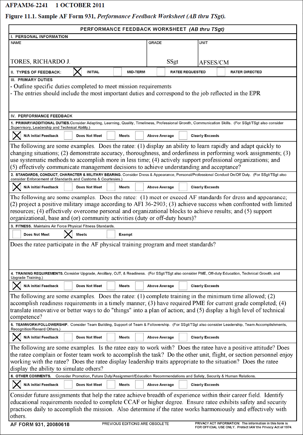 Printables Performance Feedback Worksheet af form 931 feedback example 2 performance worksheet