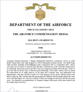 Award Citation Examples http://www.airforcewriter.com/dec.htm