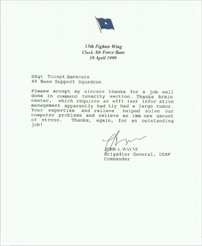 air force letter of appreciation