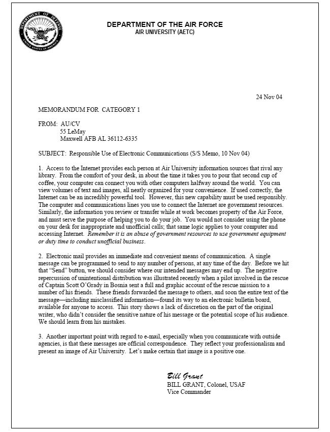 Air Force Official Memorandum Template – Memo Format Template